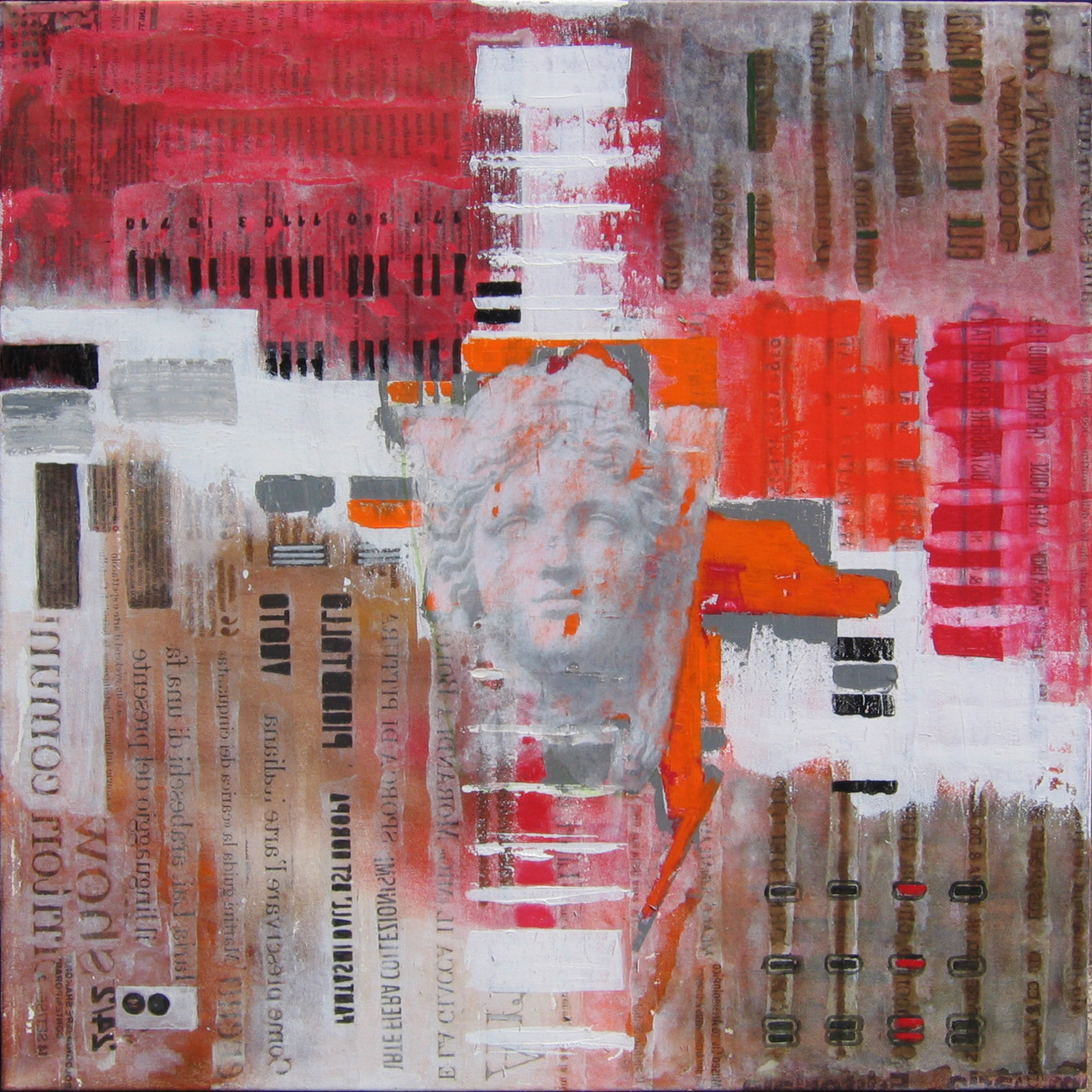Codes collage e acrilico su tela 70x70 2014