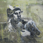 Buffone con pappagallo_ da P. Veronese tec.mista su tela 70x70 2014