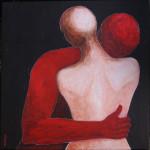 L'abbraccio_ acrilico su tela 50x50 2014d