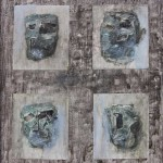 Maschere di piombo_ tec. mista su tavola 90x80 2010