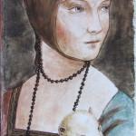 la dama con l'ermellino da L.da Vinci 50x25