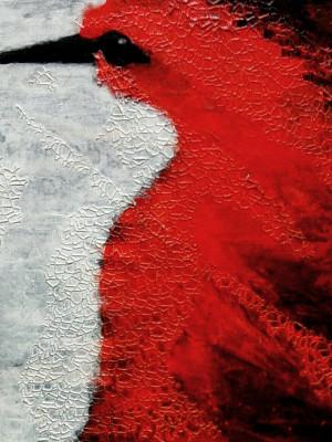 Bianco e rosso Tec. mista su tela 50X51 2015