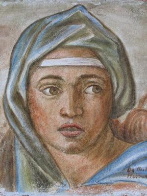 Sibilla Delfica,copy da Michelangelo 25x25 su cotto